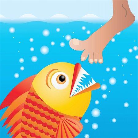 piranha fish - Cartoon piranha trying to bite the leg, vector illustration Stock Photo - Budget Royalty-Free & Subscription, Code: 400-05208773