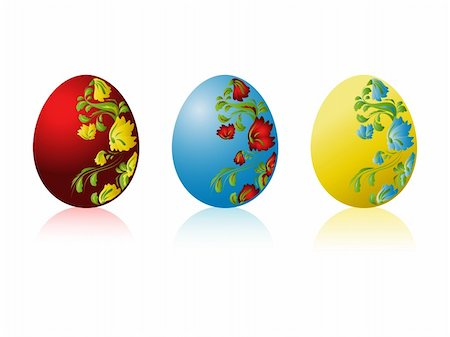 flower clipart paint - Three vector colored Easter eggs with pattern Stock Photo - Budget Royalty-Free & Subscription, Code: 400-05200250