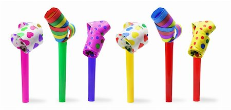 Party Blowers on Isolated White Background Stock Photo - Budget Royalty-Free & Subscription, Code: 400-05200988