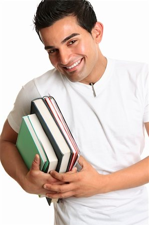 Cheerful friendly male university or college student carrying study books. Stock Photo - Budget Royalty-Free & Subscription, Code: 400-05203253