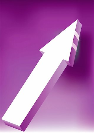 Vector Onward & Upward Arrow on purple background - 3D Glossy Icon Stock Photo - Budget Royalty-Free & Subscription, Code: 400-05203266