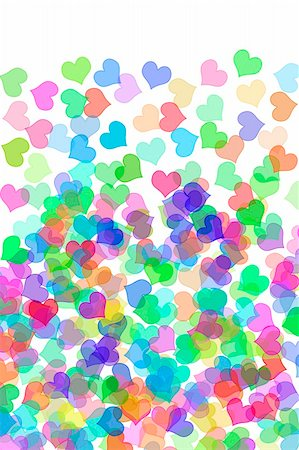 simsearch:400-04597082,k - hearts of many colors drawn on a white background Stock Photo - Budget Royalty-Free & Subscription, Code: 400-05216966