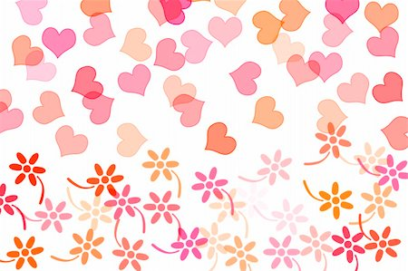 simsearch:400-04597082,k - hearts and flowers drawn on a white background Stock Photo - Budget Royalty-Free & Subscription, Code: 400-05217886
