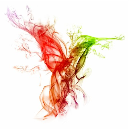 rainbow smoke background - Hummingbird-shaped smoke composition with different colors isolated on a white background. Easy to use and adapt for various other graphic-design works :) Stock Photo - Budget Royalty-Free & Subscription, Code: 400-05213054