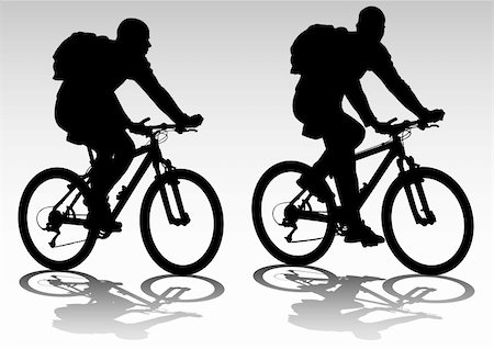 Vector drawing bicycle races leisure. Silhouette of sports people Stock Photo - Budget Royalty-Free & Subscription, Code: 400-05224285