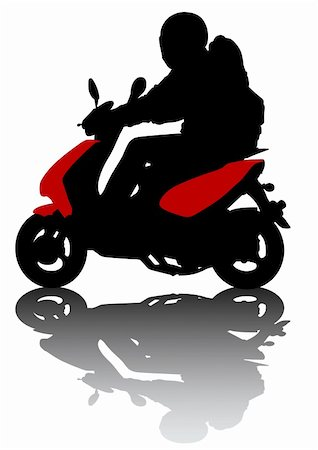 Vector drawing kid on scooter. Silhouette on white background Stock Photo - Budget Royalty-Free & Subscription, Code: 400-05224287
