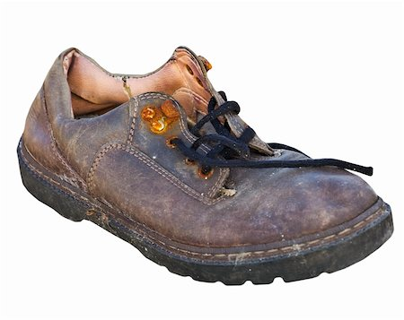 Old worn-out rotten shoe isolated on white background Stock Photo - Budget Royalty-Free & Subscription, Code: 400-05224637