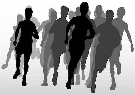 Vector drawing running athlete an. Silhouette of sports people Stock Photo - Budget Royalty-Free & Subscription, Code: 400-05225597