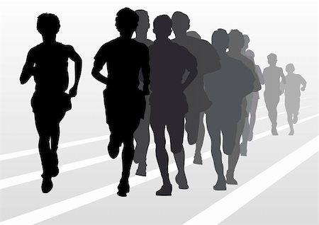 Vector drawing running athlete an. Silhouette of sports people Stock Photo - Budget Royalty-Free & Subscription, Code: 400-05225606