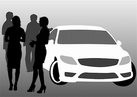 Vector drawing crowds passenger near car Stock Photo - Budget Royalty-Free & Subscription, Code: 400-05225608