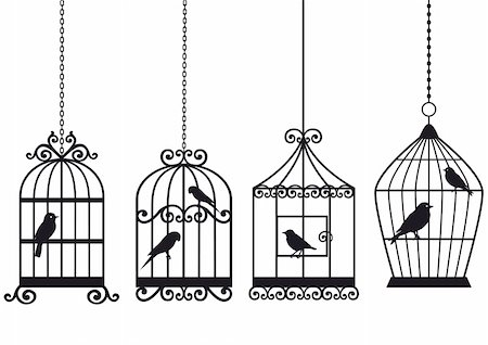 set of ornamental vintage birdcages with birds, vector background Stock Photo - Budget Royalty-Free & Subscription, Code: 400-05227538