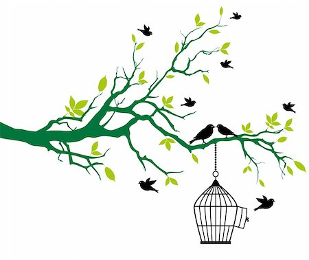 simsearch:400-04399778,k - green spring tree with open birdcage and kissing birds, vector background Stock Photo - Budget Royalty-Free & Subscription, Code: 400-05227539