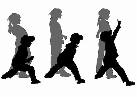 Vector drawing girl and boy in motion. Silhouette on white background Stock Photo - Budget Royalty-Free & Subscription, Code: 400-05227542