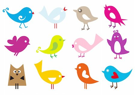 simsearch:400-04399778,k - set of cute vector birds Stock Photo - Budget Royalty-Free & Subscription, Code: 400-05227854