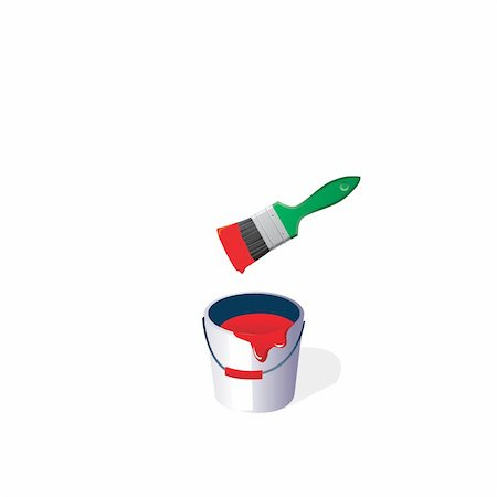 pouring ink vector - Bucket with a paint and a green brush on a white background.vector Stock Photo - Budget Royalty-Free & Subscription, Code: 400-05228351