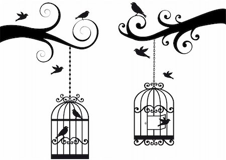 ornamental tree branches with bircage and birds, vector background Stock Photo - Budget Royalty-Free & Subscription, Code: 400-05228900