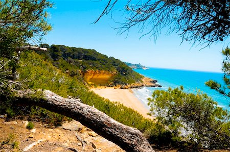 A view of Cala Fonda beach, in Tarragona, Spain Stock Photo - Budget Royalty-Free & Subscription, Code: 400-05229370
