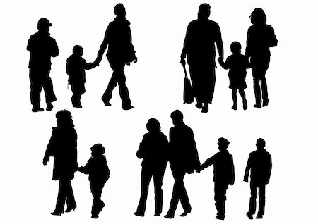 Vector drawing parents and children. Silhouettes of people Stock Photo - Budget Royalty-Free & Subscription, Code: 400-05229519