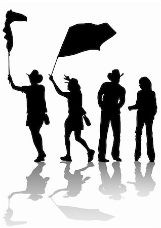 Vector drawing of people in cowboy hats. Silhouettes on white background Stock Photo - Budget Royalty-Free & Subscription, Code: 400-05229967