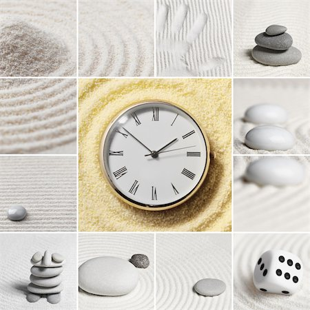 sand clock - Collage - Japanese garden of stones. Watch. Stock Photo - Budget Royalty-Free & Subscription, Code: 400-05221585