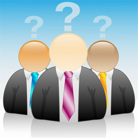 education loan - Illustration of three businessmen in the problem on blue background. Stock Photo - Budget Royalty-Free & Subscription, Code: 400-05221838