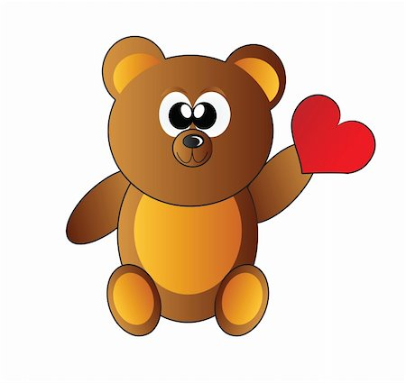 teddy bear with heart isolated on white background Stock Photo - Budget Royalty-Free & Subscription, Code: 400-05221883