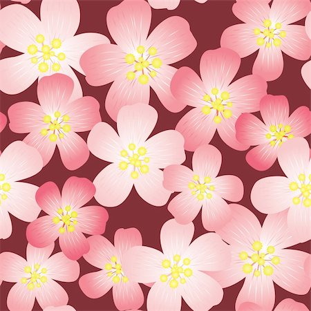 flores - Abstract cherry-flowers background. Seamless pattern. Vector illustration. Stock Photo - Budget Royalty-Free & Subscription, Code: 400-05222044