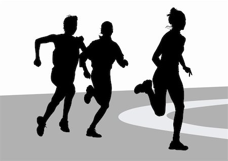 Vector drawing running athletes women on competition Stock Photo - Budget Royalty-Free & Subscription, Code: 400-05223304