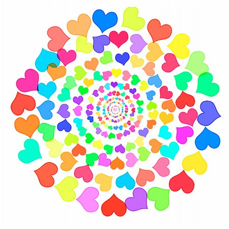 simsearch:400-04597082,k - hearts of different colors in circles drawn on a white background Stock Photo - Budget Royalty-Free & Subscription, Code: 400-05223944