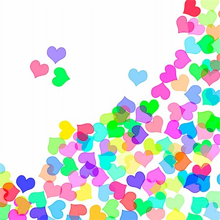 simsearch:400-04597082,k - hearts of different colors drawn on a white background Stock Photo - Budget Royalty-Free & Subscription, Code: 400-05223945