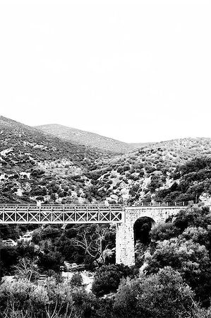 Landscape in the Greek Peloponnese with a bridge, black and white photograph Stock Photo - Budget Royalty-Free & Subscription, Code: 400-05234174