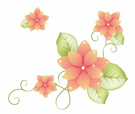 simsearch:400-04697977,k - illustration drawing of three beautiful orange sakura flowers Stock Photo - Budget Royalty-Free & Subscription, Code: 400-05234536