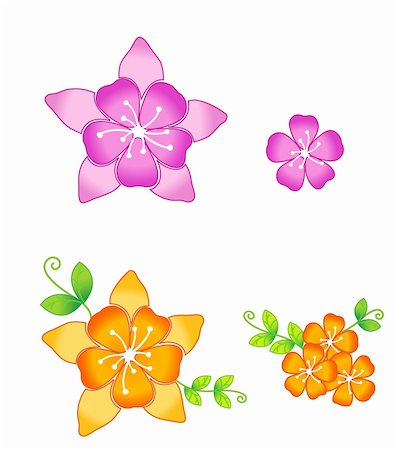 simsearch:400-05235216,k - drawing of beautiful pink and orange sakura flowers Stock Photo - Budget Royalty-Free & Subscription, Code: 400-05234539