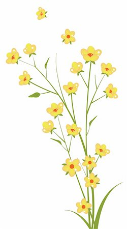 simsearch:400-04697977,k - illustration drawing of yellow flower in a white background Stock Photo - Budget Royalty-Free & Subscription, Code: 400-05234549