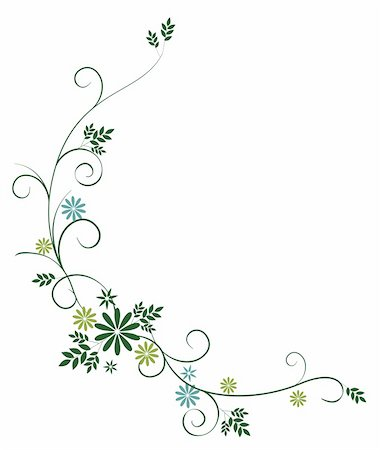 illustration drawing of some beautiful green leaves and wild flower Stock Photo - Budget Royalty-Free & Subscription, Code: 400-05234542