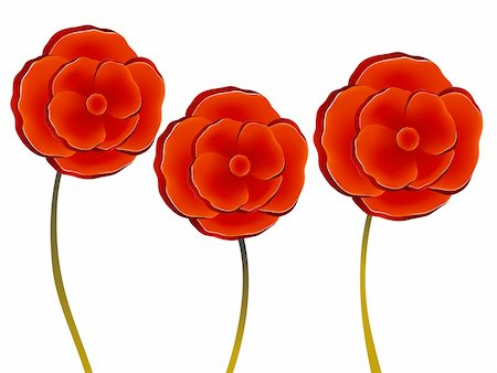 simsearch:400-04697977,k - illustration drawing of three beautiful red flowers Stock Photo - Budget Royalty-Free & Subscription, Code: 400-05234785