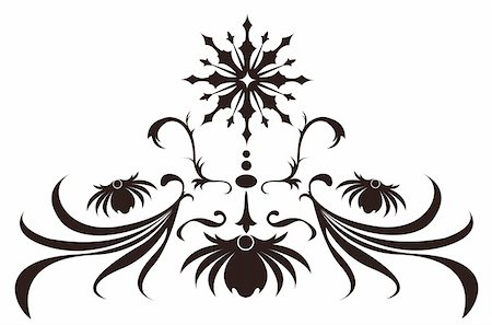 simsearch:400-05235216,k - illustration drawing of beautiful black flower pattern Stock Photo - Budget Royalty-Free & Subscription, Code: 400-05235162