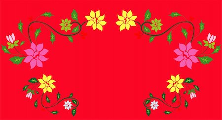simsearch:400-05235216,k - drawing of beautiful flower pattern  in a red background Stock Photo - Budget Royalty-Free & Subscription, Code: 400-05235215