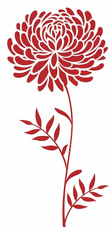 illustration drawing of red daisy flower pattern  in a white background Stock Photo - Budget Royalty-Free & Subscription, Code: 400-05235279
