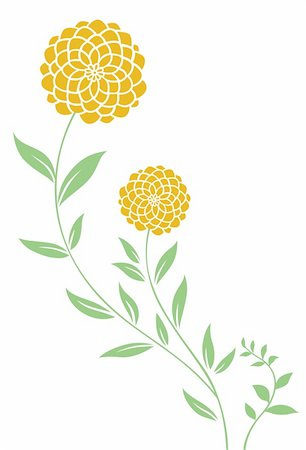 simsearch:400-04697977,k - illustration drawing of beautiful yellow daisy pattern and leaves Stock Photo - Budget Royalty-Free & Subscription, Code: 400-05235280