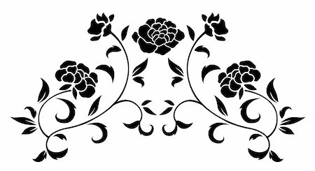 simsearch:400-05235216,k - drawing of black flower pattern  in a white background Stock Photo - Budget Royalty-Free & Subscription, Code: 400-05235281