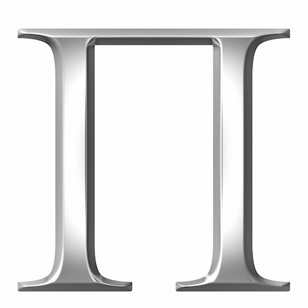 fancy letters - 3d silver Greek letter Pi isolated in white Stock Photo - Budget Royalty-Free & Subscription, Code: 400-05235457