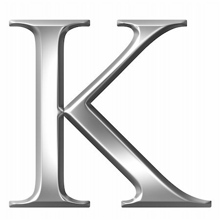 fancy letters - 3d silver Greek letter Kappa isolated in white Stock Photo - Budget Royalty-Free & Subscription, Code: 400-05235450
