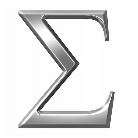 fancy letters - 3d silver Greek letter Sigma isolated in white Stock Photo - Budget Royalty-Free & Subscription, Code: 400-05235460