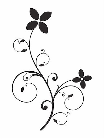 plant leaf paintings graphic - abstract floral element black and white object vector illustration Stock Photo - Budget Royalty-Free & Subscription, Code: 400-05235646