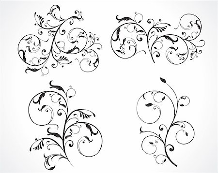 plant leaf paintings graphic - abstract black and white curved floral designs set vector illustration Stock Photo - Budget Royalty-Free & Subscription, Code: 400-05235688
