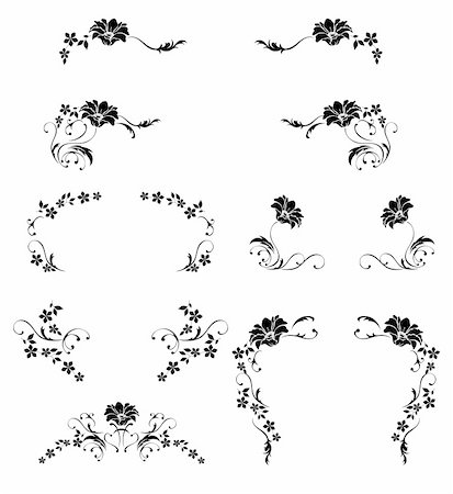 simsearch:400-05235216,k - illustration drawing of beautiful black flower pattern Stock Photo - Budget Royalty-Free & Subscription, Code: 400-05235698