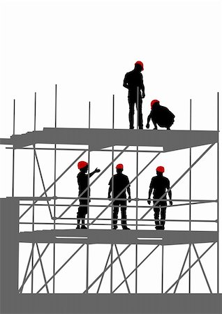Vector drawing of building structures and worker on dais Stock Photo - Budget Royalty-Free & Subscription, Code: 400-05235862