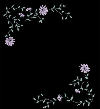 simsearch:400-05235216,k - drawing of beautiful flower in a black background Stock Photo - Budget Royalty-Free & Subscription, Code: 400-05236026