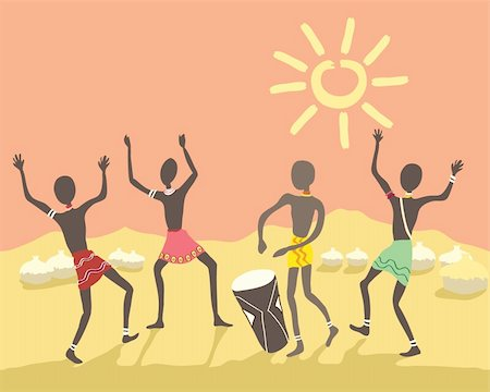 a hand drawn illustration of colorful african people dancing in a village under a bright sky Stock Photo - Budget Royalty-Free & Subscription, Code: 400-05236196
